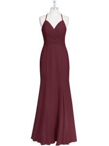 Elegant Burgundy Chiffon Criss Cross Prom Dress Sleeveless Floor Length Ruching