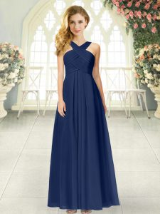Sexy Empire Formal Dresses Navy Blue Straps Chiffon Sleeveless Floor Length Zipper