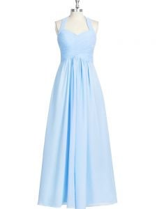 Ruching Prom Party Dress Blue Zipper Sleeveless Floor Length