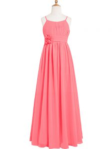 Watermelon Red Chiffon Zipper Scoop Sleeveless Floor Length Prom Gown Pleated and Hand Made Flower
