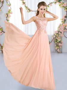 Stunning Peach Empire Lace Damas Dress Lace Up Chiffon Sleeveless Floor Length