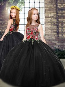 Black Sleeveless Tulle Zipper Little Girls Pageant Dress for Party and Wedding Party