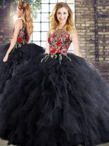 Lovely Floor Length Ball Gowns Sleeveless Black Sweet 16 Quinceanera Dress Zipper