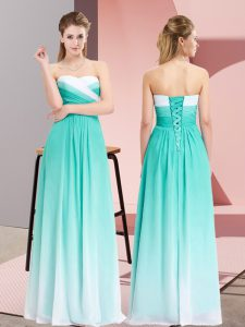 Flare Turquoise Chiffon Lace Up Sweetheart Sleeveless Floor Length Prom Evening Gown Ruching