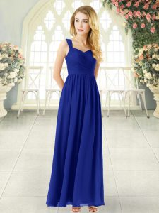 Ankle Length Royal Blue Homecoming Dress Chiffon Sleeveless Ruching