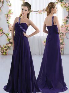Fine Purple Empire Beading Bridesmaid Gown Lace Up Chiffon Sleeveless