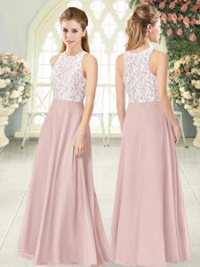 Captivating Chiffon Sleeveless Floor Length Evening Gowns and Lace