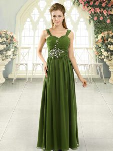 Spaghetti Straps Sleeveless Dress for Prom Floor Length Beading and Ruching Olive Green Chiffon