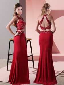 Red Sleeveless Beading Floor Length Prom Party Dress
