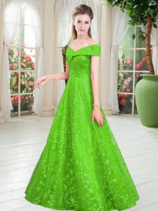 Glamorous Sleeveless Lace Floor Length Lace Up Dress for Prom in with Beading