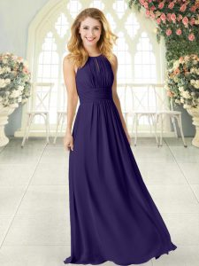 Floor Length Purple Prom Gown Chiffon Sleeveless Ruching