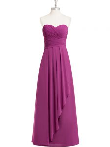 Artistic Floor Length Zipper Dress for Prom Fuchsia for Prom and Party and Military Ball with Ruching