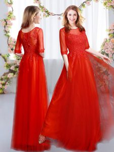 Most Popular Floor Length Zipper Quinceanera Dama Dress Red for Prom and Party and Wedding Party with Lace