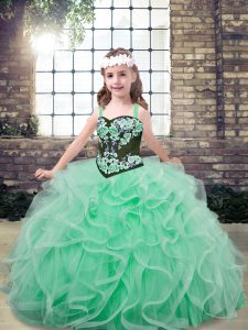 Floor Length Lace Up Kids Pageant Dress Apple Green for Party and Wedding Party with Embroidery and Ruffles