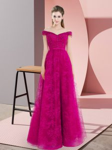 Beautiful Floor Length A-line Sleeveless Fuchsia Dress for Prom Lace Up