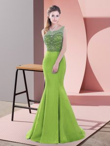 Low Price Green Scoop Lace Up Beading and Lace Dress for Prom Sweep Train Sleeveless
