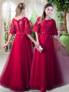Red Zipper Juniors Evening Dress Appliques Half Sleeves Floor Length