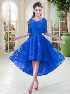 Half Sleeves High Low Lace Zipper Prom Gown with Blue