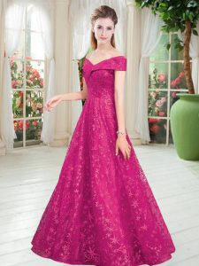 Fabulous Fuchsia Lace Up Off The Shoulder Beading Evening Dresses Lace Sleeveless