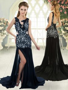 Navy Blue Backless Juniors Evening Dress Lace Sleeveless Brush Train