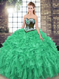 Latest Green Sweetheart Lace Up Embroidery and Ruffles Vestidos de Quinceanera Sweep Train Sleeveless