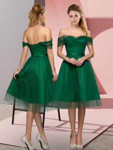 Green Tulle Lace Up Off The Shoulder Sleeveless Tea Length Prom Evening Gown Beading and Lace