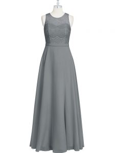 Lace and Appliques and Belt Dress for Prom Grey Zipper Sleeveless Floor Length