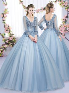Ball Gowns Quince Ball Gowns Blue V-neck Tulle Long Sleeves Floor Length Lace Up