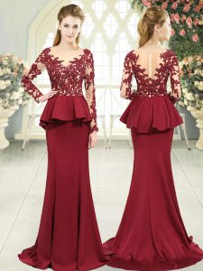 Satin Long Sleeves Evening Dresses Sweep Train and Lace and Appliques