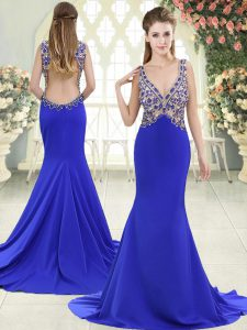 Blue Evening Dresses Prom and Party with Beading V-neck Sleeveless Sweep Train Backless