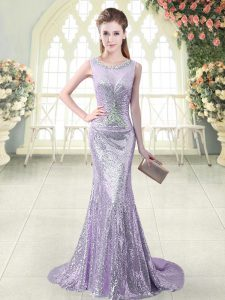 Beading Homecoming Dress Lavender Zipper Sleeveless Brush Train