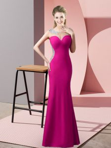 Beauteous Beading Fuchsia Zipper Sleeveless Floor Length