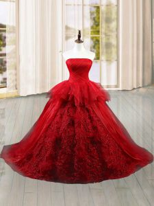 Exceptional Tulle Sleeveless 15th Birthday Dress Brush Train and Lace and Ruffles
