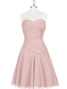 Pink Zipper Sweetheart Ruching and Pleated Prom Dresses Sleeveless