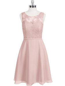 Flare Baby Pink Chiffon Clasp Handle Prom Party Dress Sleeveless Mini Length Lace