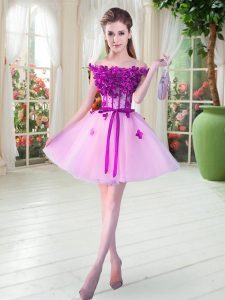 Lilac A-line Tulle Off The Shoulder Sleeveless Beading and Appliques Mini Length Lace Up