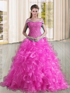 Fuchsia Off The Shoulder Lace Up Beading and Lace and Ruffles Sweet 16 Quinceanera Dress Sweep Train Sleeveless