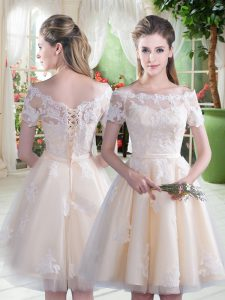 Comfortable Knee Length Champagne Prom Gown Off The Shoulder Short Sleeves Lace Up