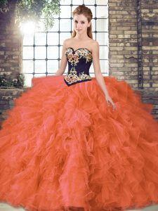 Orange Red Lace Up 15th Birthday Dress Beading and Embroidery Sleeveless Floor Length