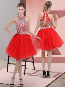 Red Two Pieces Organza Halter Top Sleeveless Beading Knee Length Backless Prom Dresses