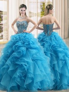 Comfortable Ball Gowns Quinceanera Dress Baby Blue Sweetheart Organza Sleeveless Floor Length Lace Up