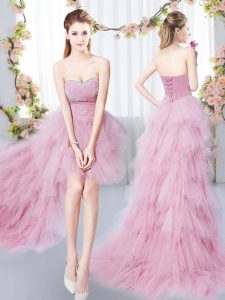 Exceptional Sleeveless Beading and Ruffles Lace Up Wedding Party Dress