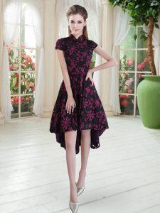 A-line Prom Party Dress Pink And Black High-neck Lace Short Sleeves High Low Zipper