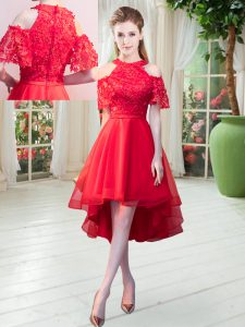 New Arrival Red A-line Lace Prom Dress Zipper Tulle Short Sleeves High Low