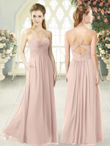 Eye-catching Pink Sleeveless Floor Length Ruching Criss Cross Prom Gown