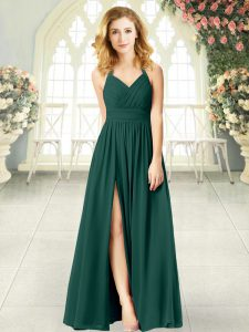 Cute Sleeveless Chiffon Floor Length Zipper Prom Dress in Peacock Green with Ruching