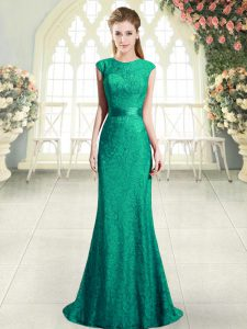 Elegant Turquoise Cap Sleeves Sweep Train Backless Dress for Prom for Prom and Party