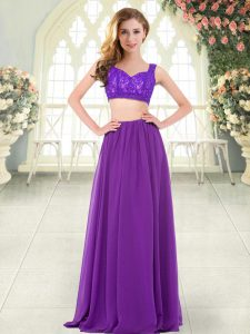 Floor Length Zipper Prom Gown Purple for Prom and Party with Beading and Lace