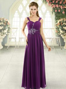 Popular Dark Purple Lace Up Beading and Ruching Sleeveless Floor Length
