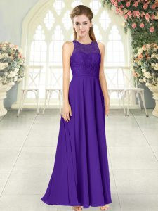 Sleeveless Floor Length Lace Backless Prom Dresses with Purple